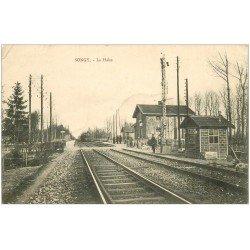 carte postale ancienne 51 SONGY. La Halte avec Train 1912