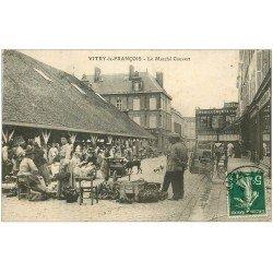 carte postale ancienne 51 VITRY-LE-FRANCOIS. Le Marché Couvert 1912 et Grands Magasins