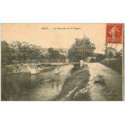 carte postale ancienne 42 BOEN. Passerelle sur le Lignon 1907