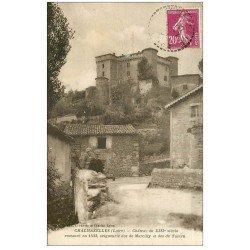 carte postale ancienne 42 CHALMAZELLES. Château des Marcilly et Talaru 1934. Enfants sur le Pont