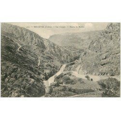 carte postale ancienne 42 MALLEVAL. Gorges Route de Maclas 1914