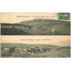 carte postale ancienne 42 MASSIF DU PILAT. Crêt Perdrix. Abreuvoir Plateau Chaux 1908. Carte en deux parties