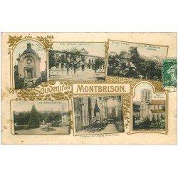 carte postale ancienne 42 MONTBRISSON. Multivues dorures gaufrées 1908
