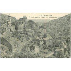 carte postale ancienne 42 MONT-PILAT. Eglise et Château Gorges Malleval vers 1909