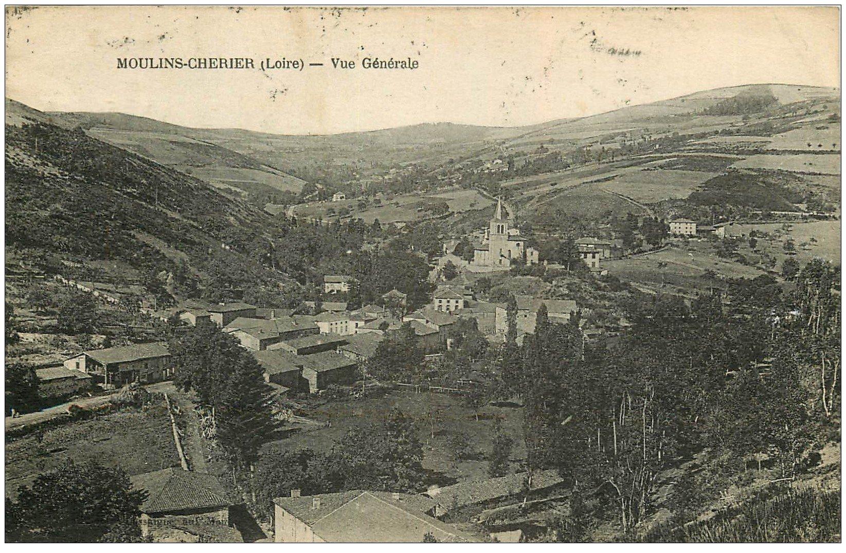 carte postale ancienne 42 MOULINS-CHERIER. Vue générale 1925