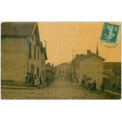 carte postale ancienne 42 NERONDE. Grande Rue. Carte toilée