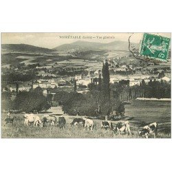 carte postale ancienne 42 NOIRETABLE. Vue et Vaches 1914