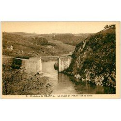 carte postale ancienne 42 ROANNE. Digue de Pinay