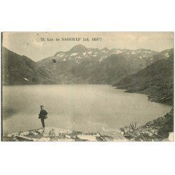 carte postale ancienne 09 NAGUILLLE le Lac avec promeneur