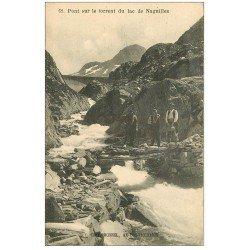 carte postale ancienne 09 NAGUILLLE. Ouvriers Pont sur le Torren du Lac