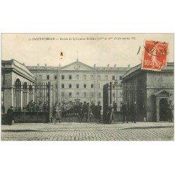 carte postale ancienne 42 SAINT-ETIENNE. Caserne Rullière 1913. Militaires d'Infanterie