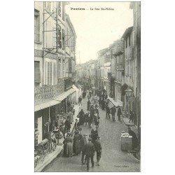 carte postale ancienne 09 PAMIERS. La Rue Sainte-Hélène. Rémouleur et vendeur de Pain ambulants