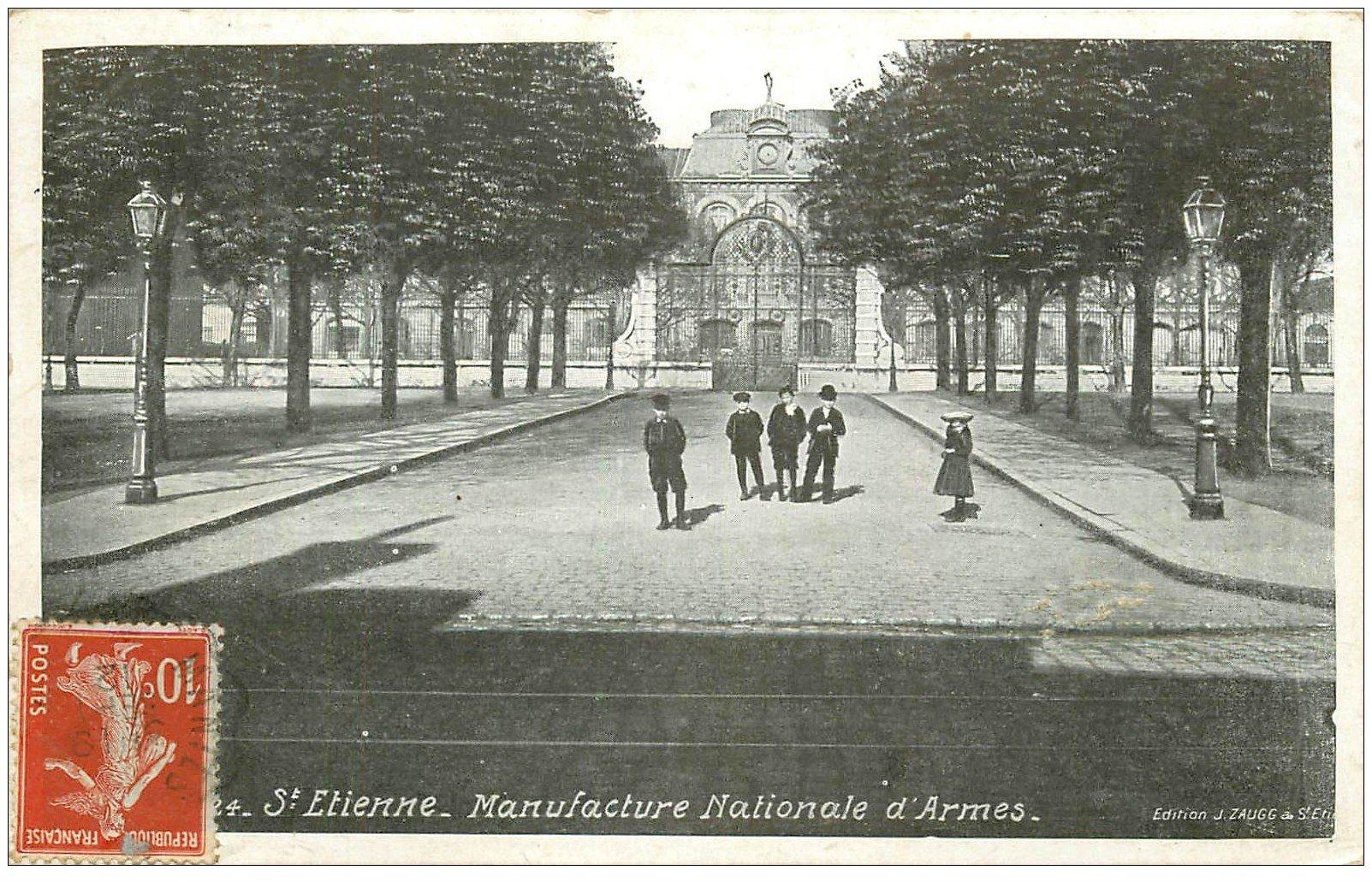 carte postale ancienne 42 SAINT-ETIENNE. Entrée Manufacture Nationale d'Armes 1912