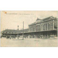 carte postale ancienne 42 SAINT-ETIENNE. Gare de Châteaucreux 1916. Tampon Militaire