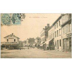 carte postale ancienne 42 SAINT-ETIENNE. La Terrasse 1906. Buvette de la Gare et Brasserie du Chemin de Fer