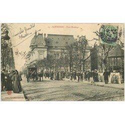 carte postale ancienne 42 SAINT-ETIENNE. Place Marengo 1907. Tampon Gras 74 Av de Rochetaillée