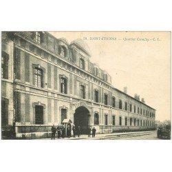 carte postale ancienne 42 SAINT-ETIENNE. Quartier Crouchy. Garde Républicaines et Dragons 1915