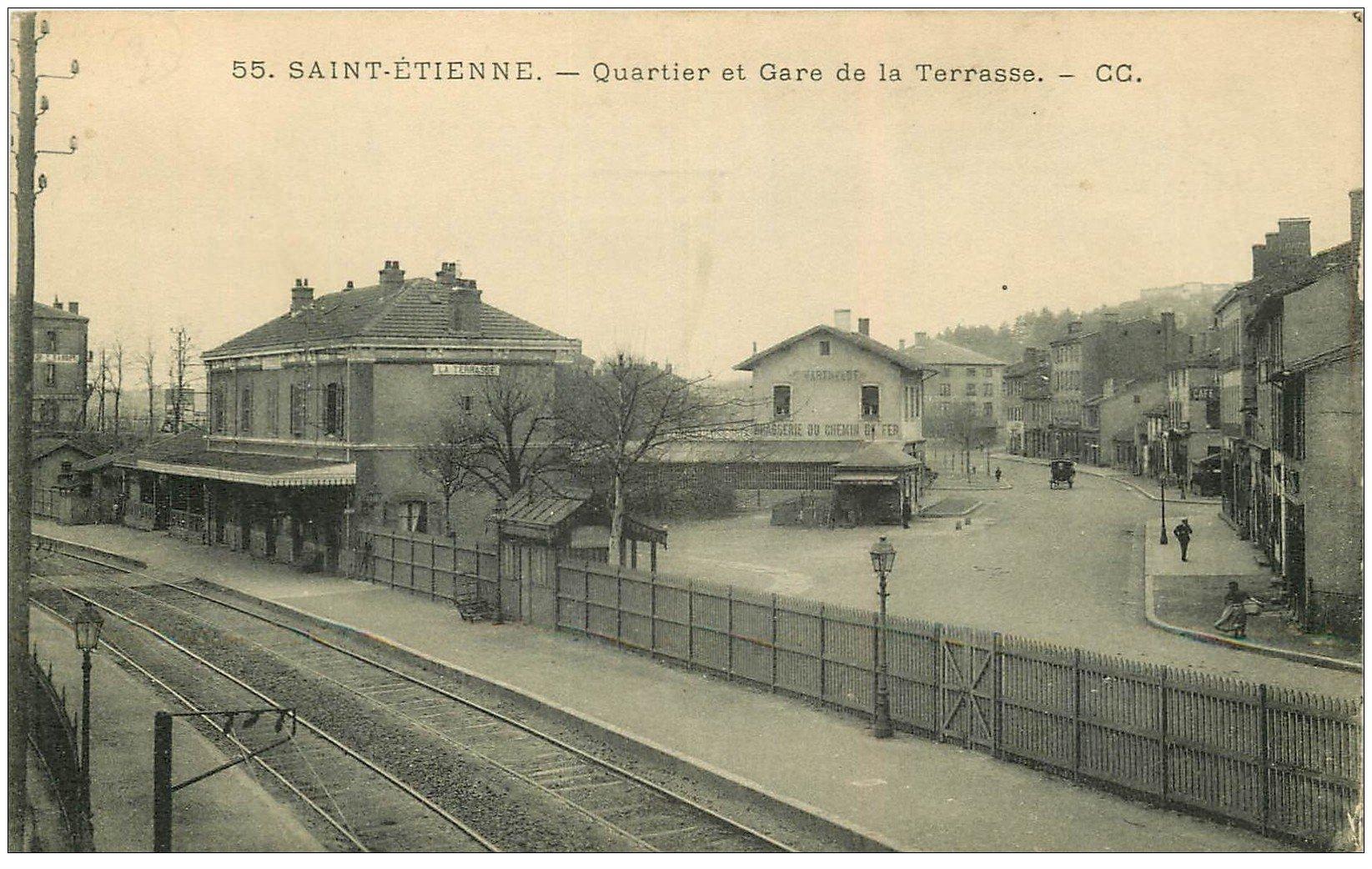 carte postale ancienne 42 SAINT-ETIENNE. Quartier et Gare de la Terrasse. Brasserie du Chemin de Fer