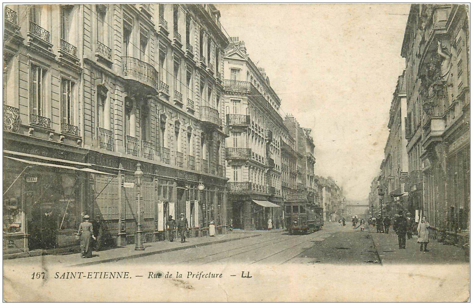 carte postale ancienne 42 SAINT-ETIENNE. Rue de la Préfecture.