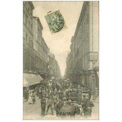 """42 SAINT-ETIENNE. Rue du Général Foy 1907. Vieux métiers Homme Sandwich """""""" Au Phare """""""". Au Bonheur des Dames"""