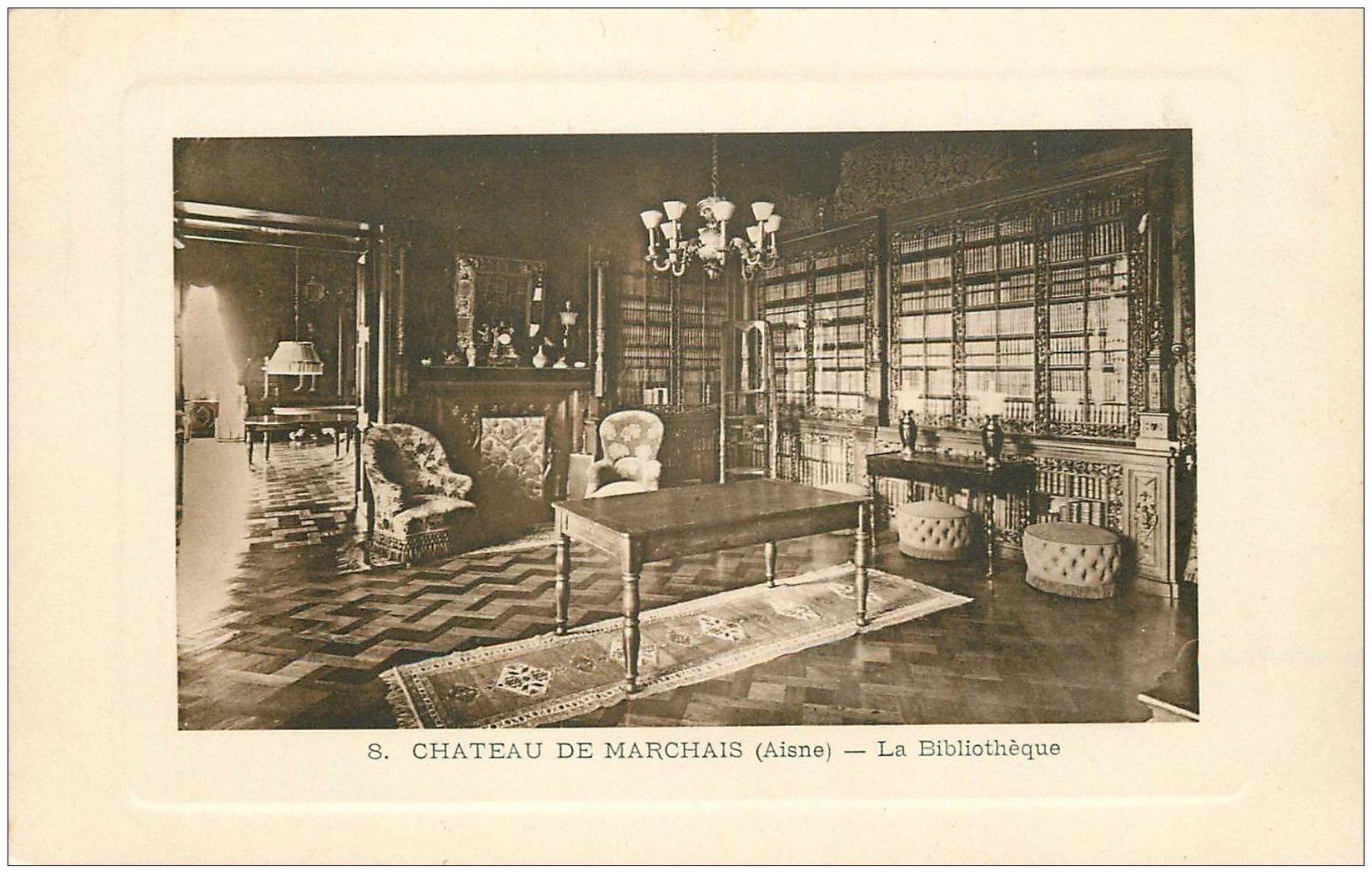 carte postale ancienne 02 CHATEAU DE MARCHAIS. La Bibliothèque