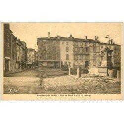 carte postale ancienne 43 BRIOUDE. Café Militaire Place du Postel rue de Lorraine