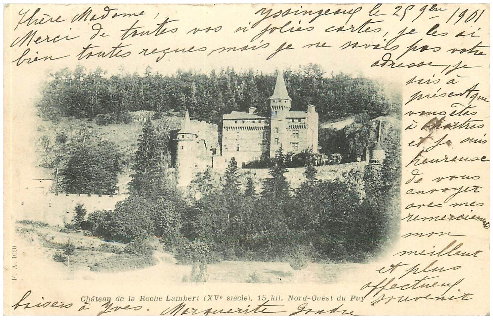 carte postale ancienne 43 CHATEAU DE LA ROCHE LAMBERT 1901