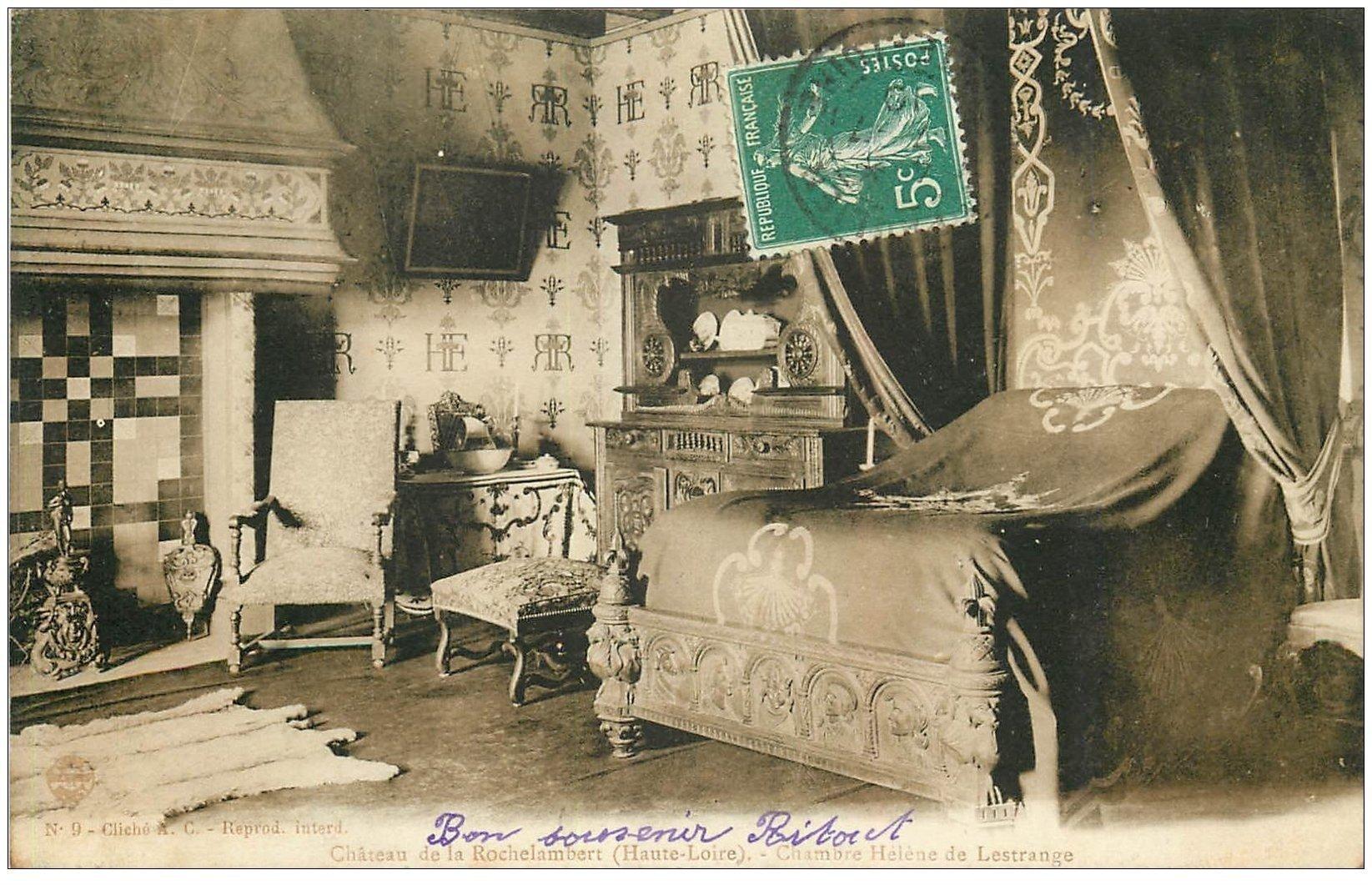 carte postale ancienne 43 CHATEAU DE LA ROCHELAMBERT 1910 Chambre Lestrange
