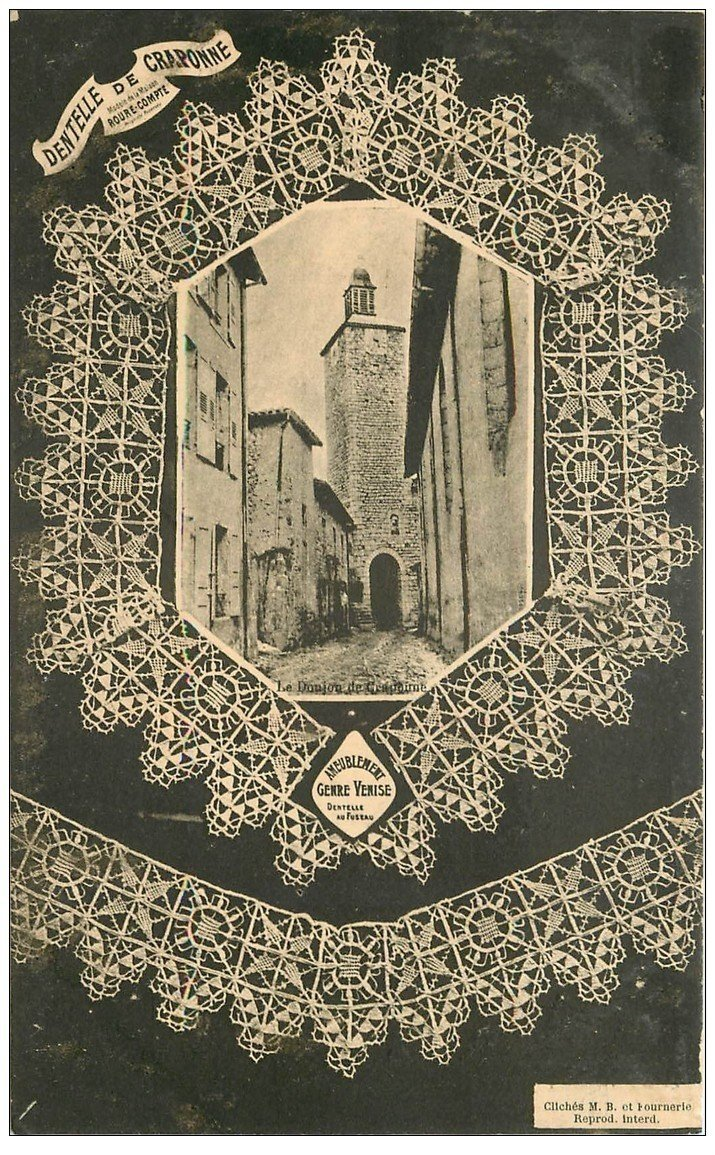 carte postale ancienne 43 DENTELLE DE CRAPONNE. Le Donjon vers 1900