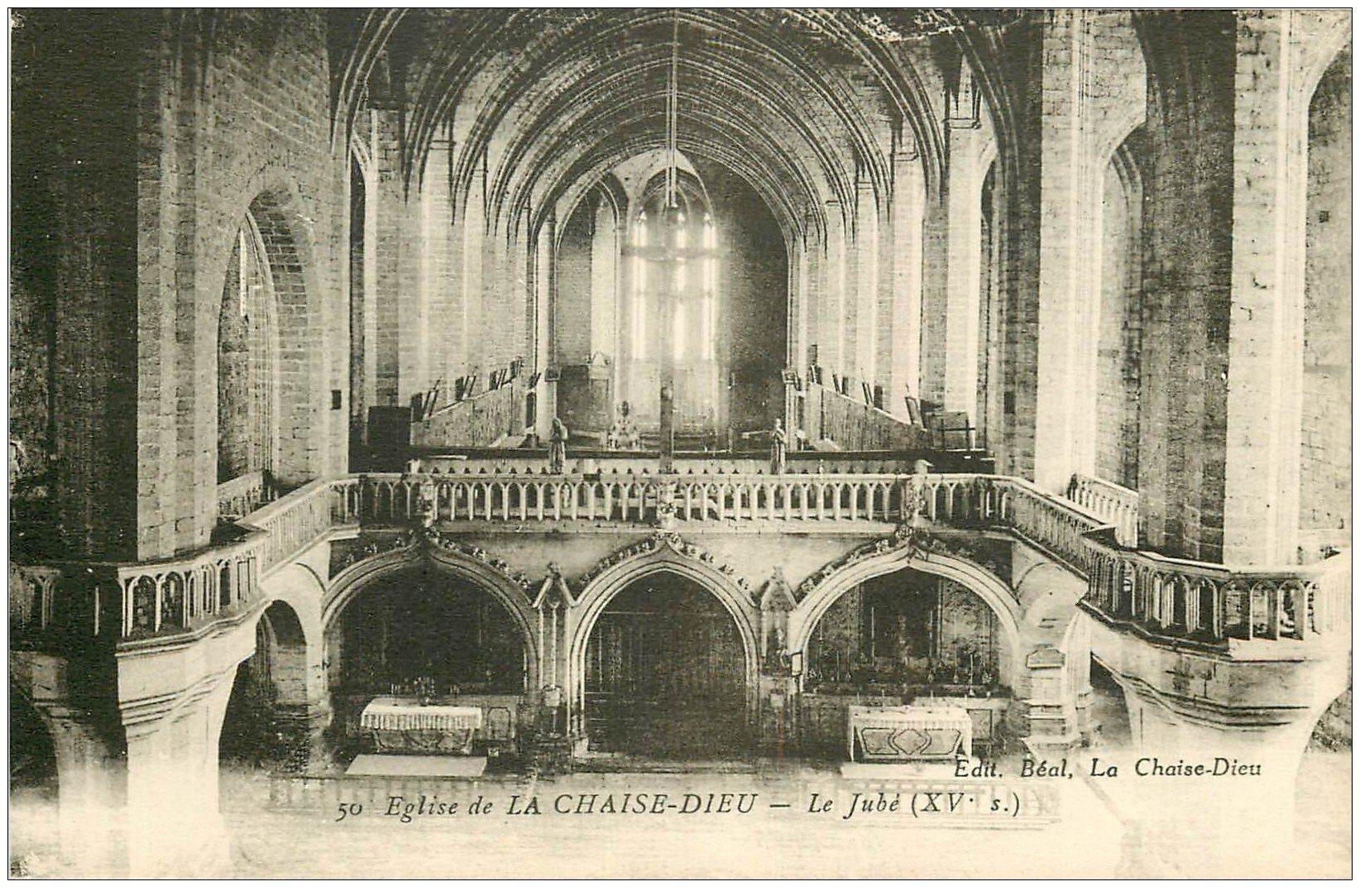 carte postale ancienne 43 LA CHAISE-DIEU. Eglise intérieur