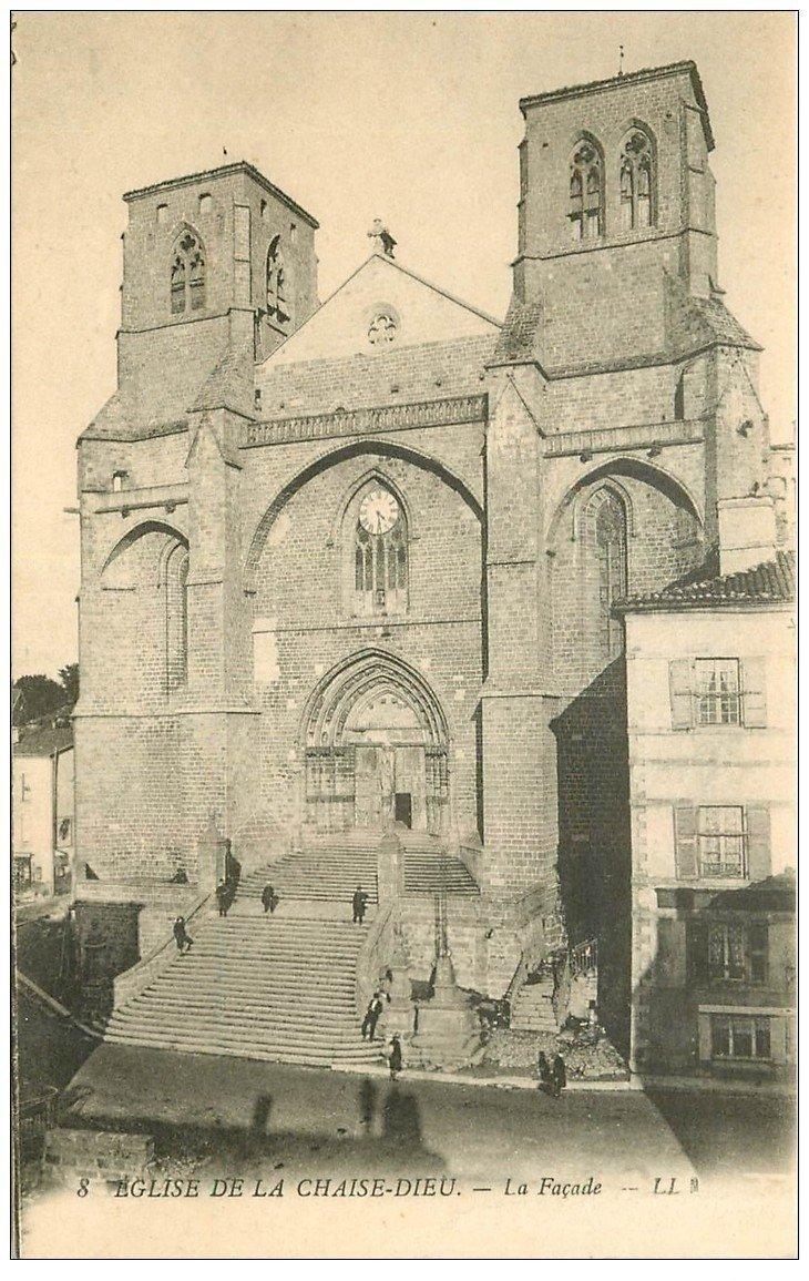 carte postale ancienne 43 LA CHAISE-DIEU. Façade et Café