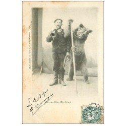 carte postale ancienne 09 SAINT-GIRONS-FOIX. Eleveur d'Ours 1904 avec sa corne avertisseur