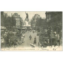 carte postale ancienne 75 PARIS 03. Hippomobile Rue du Temple et Place de la République 1905