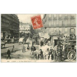 carte postale ancienne 75 PARIS 08. Hippomobile Omnibus à Impériale Rue Saint-Lazare 1910