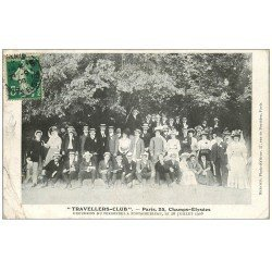 carte postale ancienne 75 PARIS 08. Travellers-Club 25 Champs-Elysées. Excursion du Personnel à Fontainebleau 1908. Club