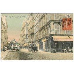 carte postale ancienne 75 PARIS 09. Rues de Clichy et de Vintimille. Omnibus à Impériale