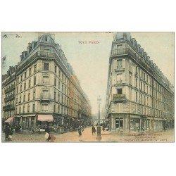 carte postale ancienne 75 PARIS 10. Angle Rue Bichat, Alibert et Marie-Louise 1905. Collection Fleury colorisée