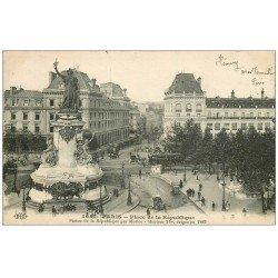 carte postale ancienne 75 PARIS 10. Place de la République 1912 et le Faubourg du Temple