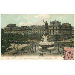 carte postale ancienne 75 PARIS 10. Place de la République Caserne du Château-d'Eau 1908