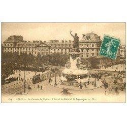 carte postale ancienne 75 PARIS 10. Place de la République et Caserne du Château d'Eau 1911
