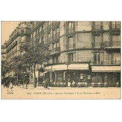 carte postale ancienne 75 PARIS 11. Café Leroy angle Rue Fontaine-au-Roi et Avenue Parmentier 1916