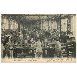 carte postale ancienne 75 PARIS 11. Ecole Dorian Avenue Philippe Auguste. Ateliers d'ajustage 1910. Apprentissages et Métiers