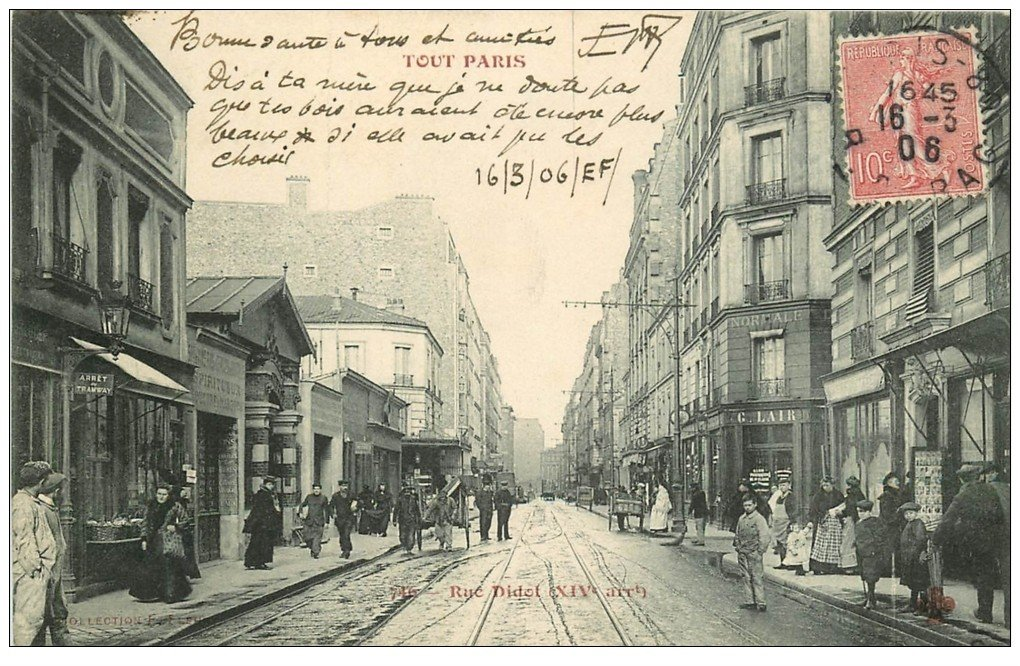 PARIS 14. Rue Didot 1906 magasin de Cartes Postales