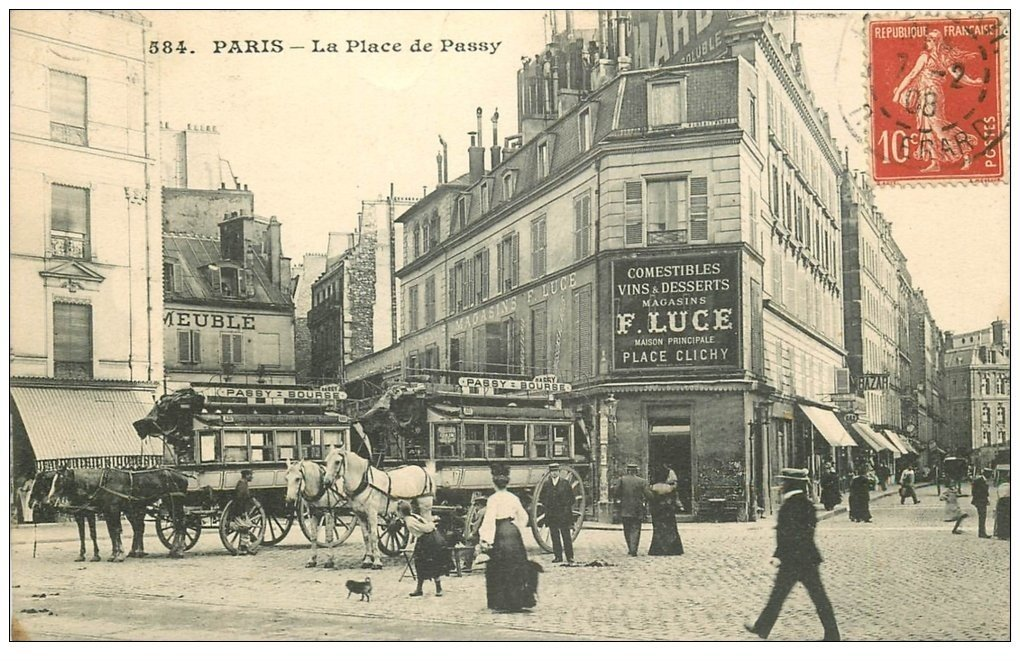 75 paris 16 hippomobiles omnibus place de passy 1908 magasins luce. Black Bedroom Furniture Sets. Home Design Ideas