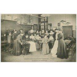 carte postale ancienne 75 PARIS 17. Société d'Enseignement Moderne. Cours de Raccomodage
