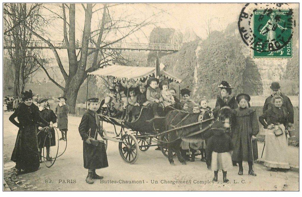 PARIS 19. Buttes-Chaumont. Un Chargement Complet 1907. Ballade avec âne