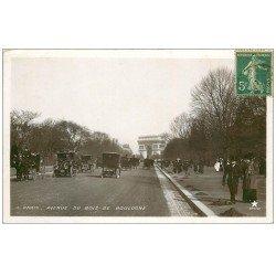 carte postale ancienne 75 PARIS. Fiacres et Taxis Avenue Foch. Carte Photo émaillographie vers 1909