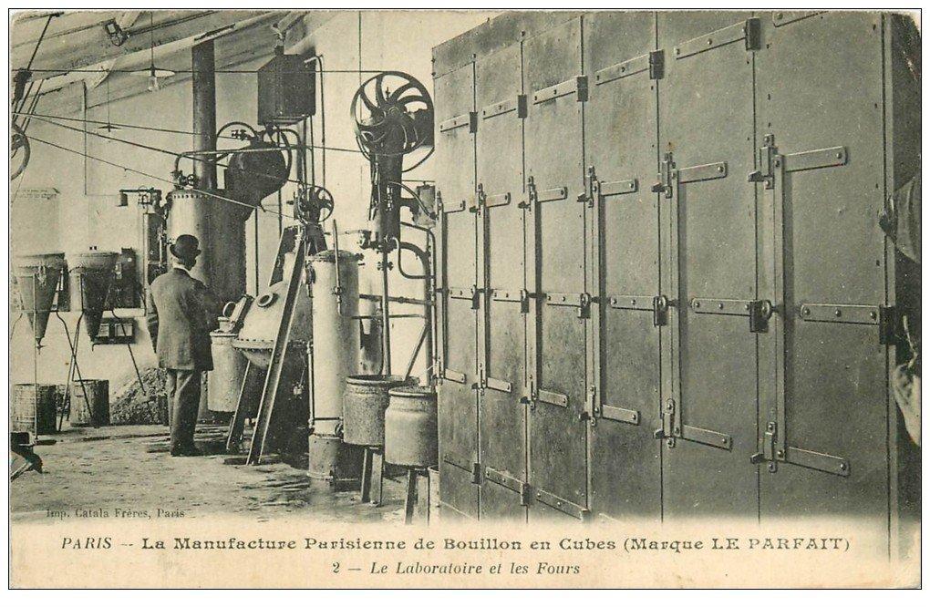 """PARIS. Manufacture Parisienne de Bouillon en Cubes """""""" Le Parfait """""""" Laboratoire et Fours"""