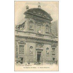 carte postale ancienne PARIS 03. Eglise Sainte-Elisabeth Rue du Temple 1908