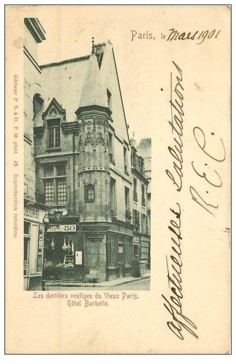 carte postale ancienne PARIS 03. Hôtel Barbette 1901